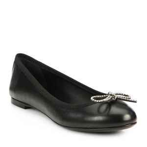 YSL Saint Laurent Dance Crystal Bow Ballet Flats
